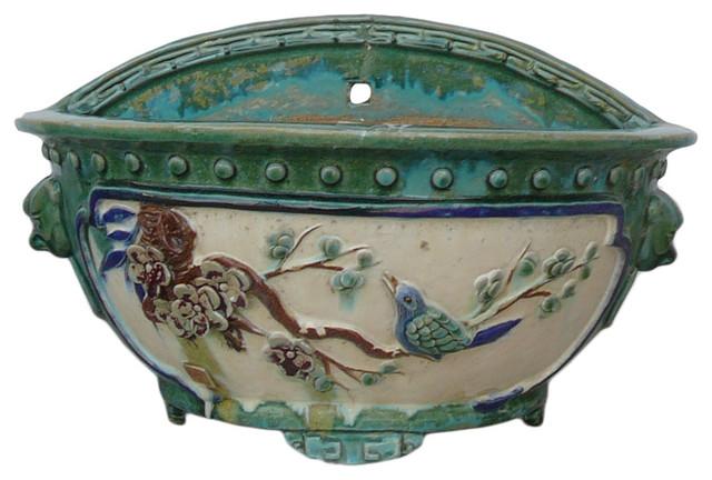 Chinese Ceramic Dimensional Flower Bird Half Wall Planter