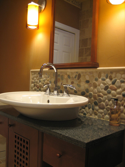 Island Stone pebble bathroom design  Modern  Tile