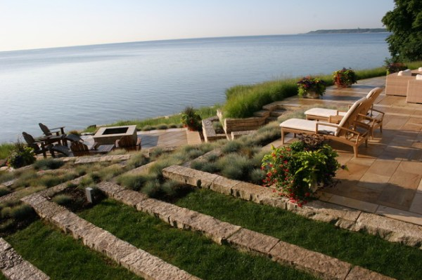 terraced lakefront - contemporary