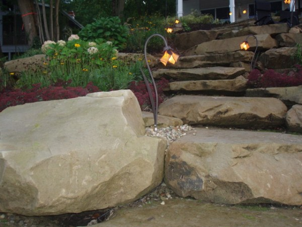 close natural stone ledge rock