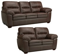 Hawkins Java Brown Italian Leather Sofa and Loveseat ...