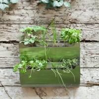 Rectangle Metal Wall-Mounted Cedar Herb Garden Planter ...