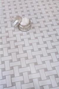 Grey Basketweave Bathroom Floor Tiles