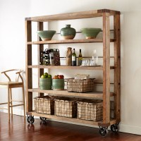 Reclaimed wood & pipe shelving unit on wheels