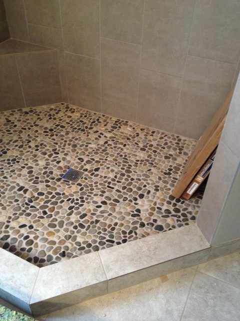 Pebble Rock Shower Floor Traditional Detroit By Troy