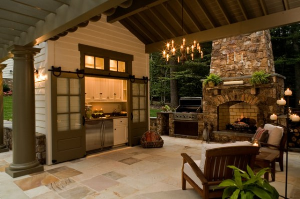 pool house with outdoor kitchen Pool House - Traditional - Patio - dc metro - by Rill