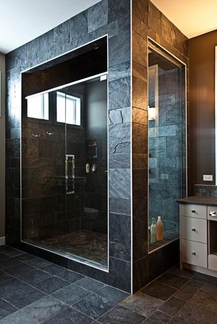 Stone Tile Shower Modern Bathroom Calgary