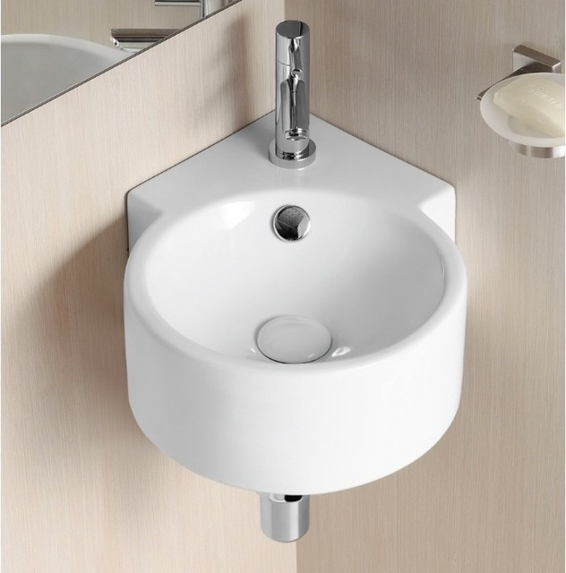 Unique Round Wall Mounted Corner Ceramic Sink by Caracalla  Contemporary  Bathroom Sinks
