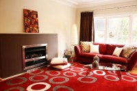 Red and Brown Living Room - Contemporary - Living Room ...