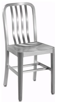 Sandra Side Chair with Aluminum Seat, Brushed Aluminum