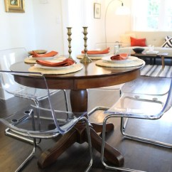 Ikea Wooden Dining Table 4 Chairs Glass And Clear Acrylic Paired With Traditional Pedestal - Eclectic Room ...