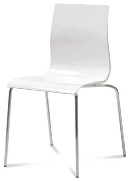GelB Stackable Dining Chair White Set of 2  Modern