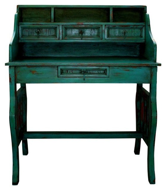 Used Mexican Turquoise Rustic Distressed Desk  Modern