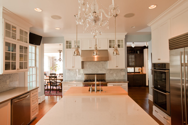 kitchen pendant lights over island commercial flooring transitional glam - traditional ...