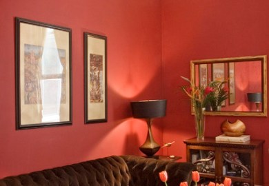 Red And Brown Living Room Walls