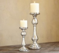 Kingsley Etched Mercury Glass Pillar Holders - Traditional ...