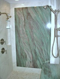 Shower with granite wall