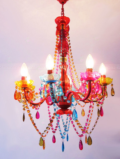 Modern Colorful Crystal Chandelier  Contemporary
