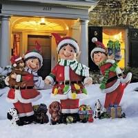 Set of Three Fiber Optic Elves - Outdoor Christmas ...