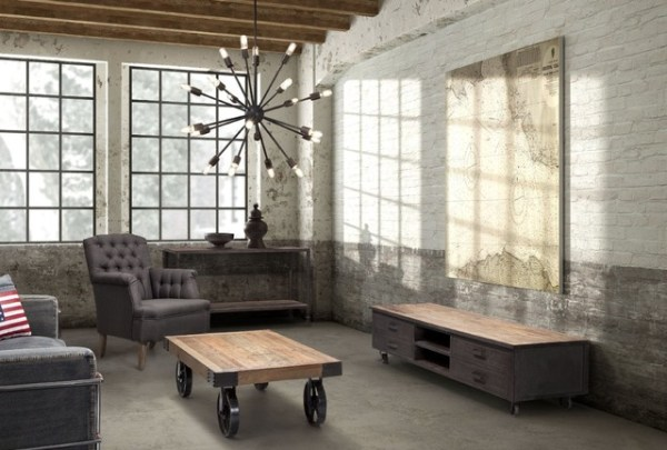 industrial design living room furniture Industrial Loft Livingroom