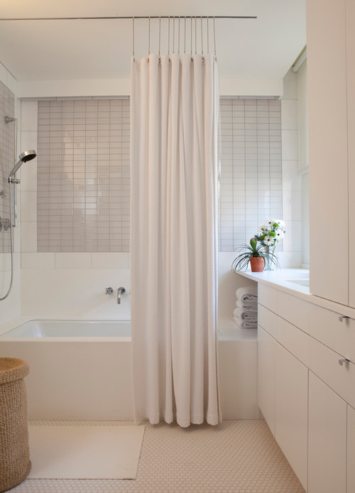 recessed shower curtain track