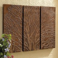 Tree Triptych Outdoor Wall Art - Traditional - Artwork ...
