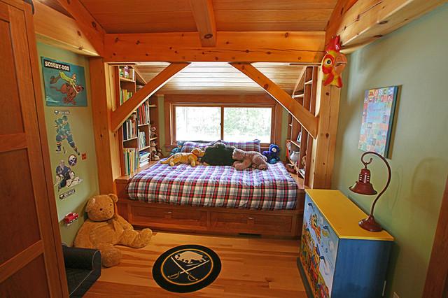 Platform Bed In Timber Frame Bedroom  Modern  Kids  New
