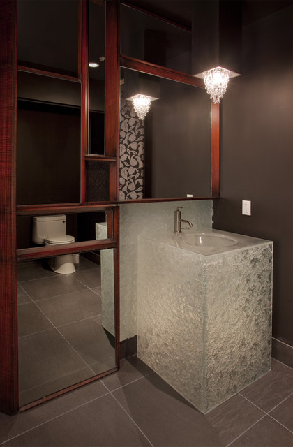 Glass Powder Room Vanity in Escala Penthouse  Contemporary  Powder Room  seattle  by