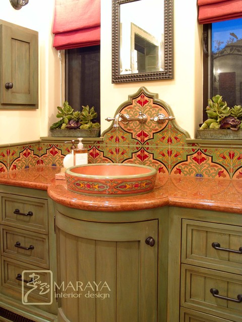 Spanish Bathroom With Malibu Tile  Mediterranean