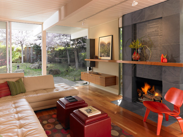 pictures of living rooms with fireplaces and tv small room chairs only modern eichler - san ...
