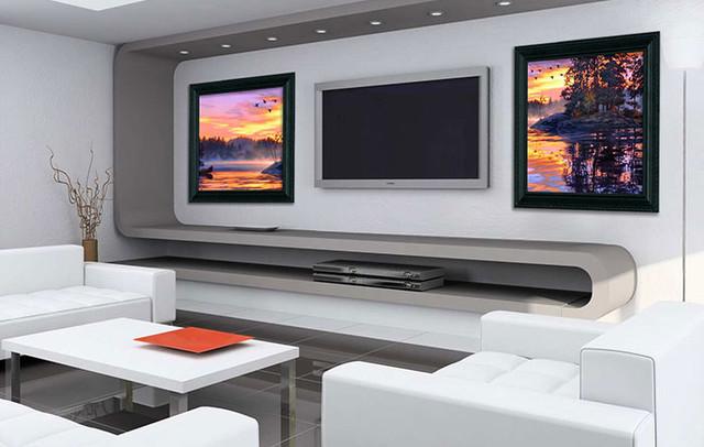 Living Room w Sound Art speakers  Modern  Living Room