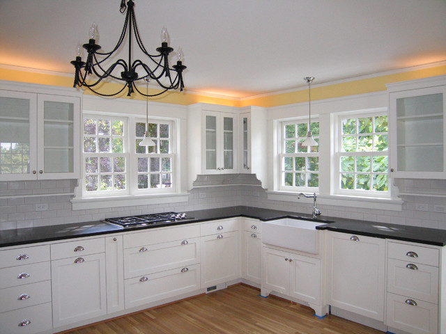 hanging kitchen lights over island cost of new cabinets cambrian black granite - traditional portland ...