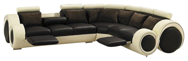 beige and brown leather sectional sofa with built in footrests eating table t27c cream & top grain ...