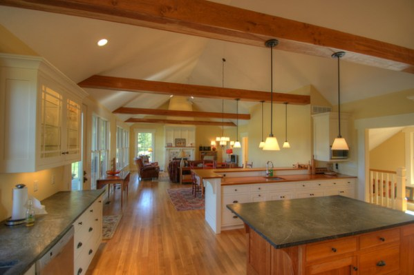 open kitchen with ceiling beams Craftsman Cottage: Open Living Spaces - Craftsman
