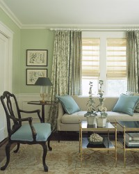 green and blue living room decor 2017 - Grasscloth Wallpaper