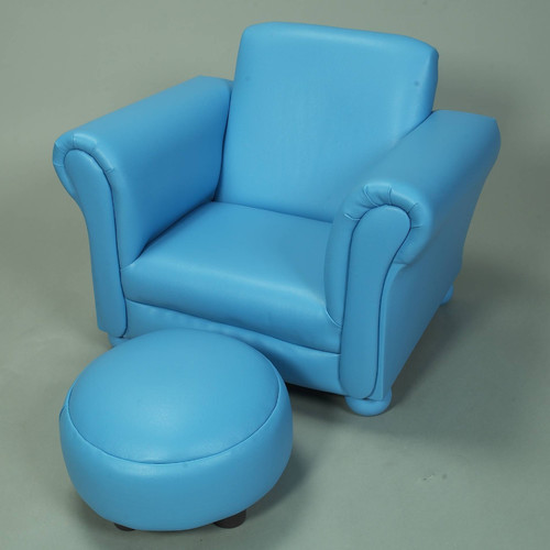 Upholstered Childrens Chair and Ottoman Set  Modern