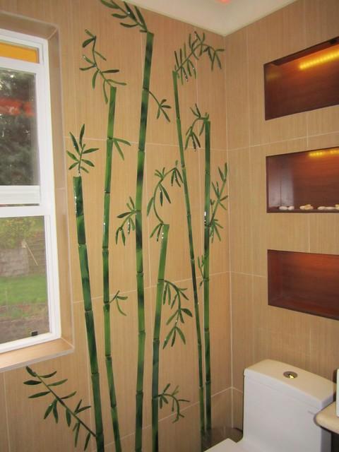 Glass decorative tiles for bathroom Bamboo stalks