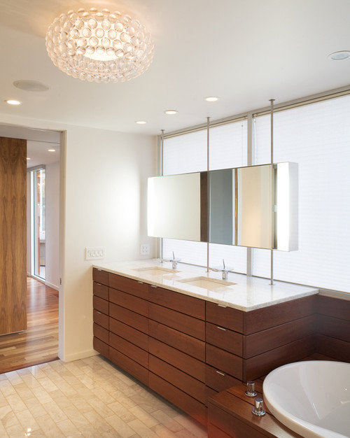 brizo kitchen faucet engineered wood flooring design decisions: bathroom mirrors in front of a window