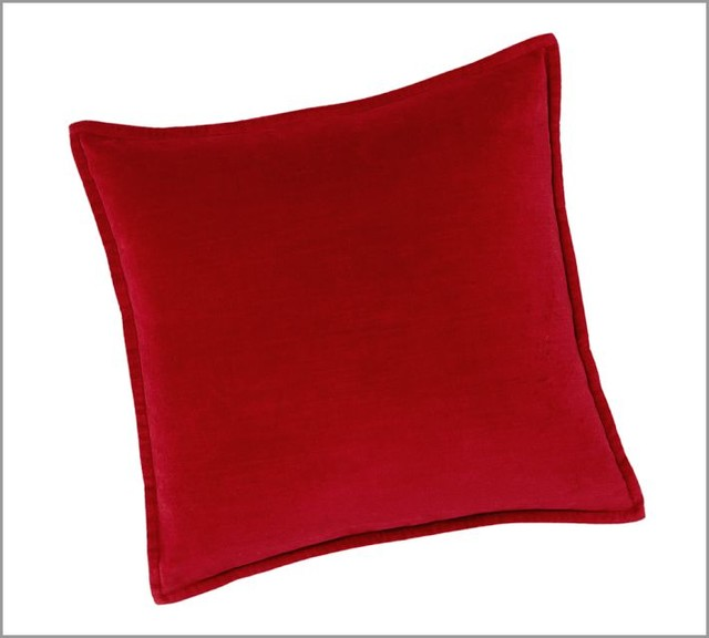 Washed Velvet Pillow Cover Cherry Red  Contemporary