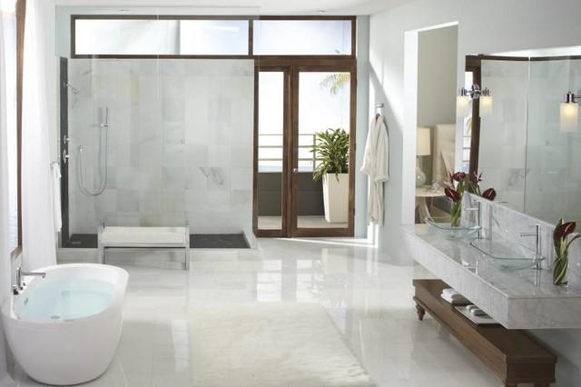 Moen Align Modern Open Concept Bathroom  Contemporary