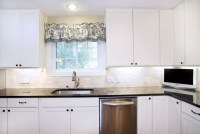 Transitional White Kitchen - Shaker Style Cabinets ...