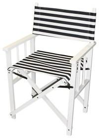 Blue/ White Stripe Folding Director Chair - Contemporary ...
