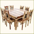 Elegant square transitional solid wood dining room table and chair set