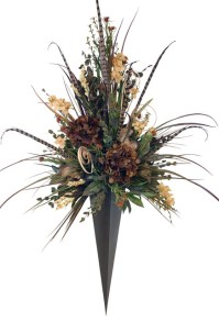 Giant Floral Arrangement in Metal Vase Wall Sconce ...
