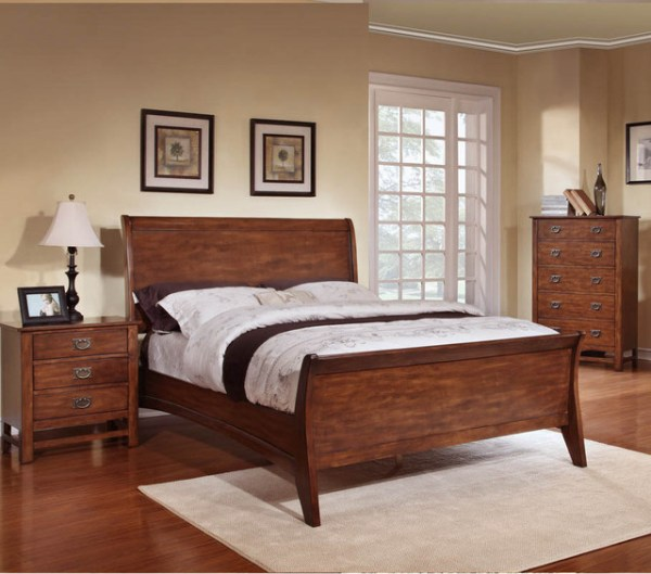 oak sleigh bedroom sets Sunny 3-piece Honey Oak Sleigh Bed Set - Contemporary - Bedroom Furniture Sets - by Overstock.com