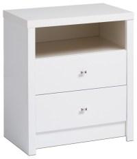 Prepac Calla Tall 2-Drawer Nightstand in Pure White ...
