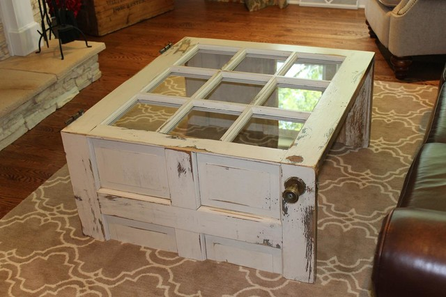 Salvaged Door into Coffee Table rustic-living-room