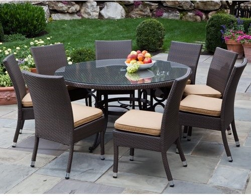 round outdoor wicker patio furniture set Alfresco Home Vento 60 in. Round All-Weather Wicker Patio Dining Set - Seats 8 S - Contemporary