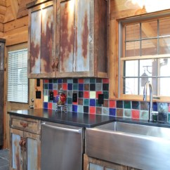 Kitchen Sink Designs Wooden Clock Barnwood For Log Home - Rustic Other ...