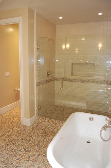 Tan Pebble Floor Contemporary Bathroom By Design For Less